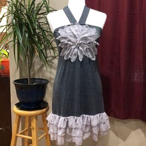 Áreve gray halter dress with appliqué size S